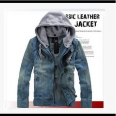 Men's new fashion style casual denim jacket hooded detachable hat long sleeve sexy overcoat suits denim 3xl