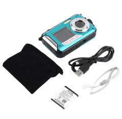 Digital Camera Waterproof 24MP MAX 1080P Double Screen16x Zoom Camcorder blue one size