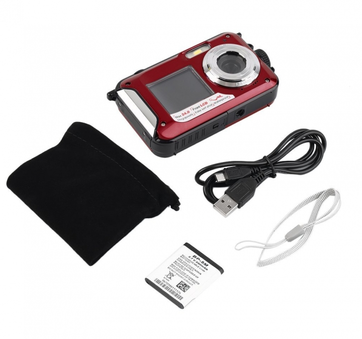 Digital Camera Waterproof 24MP MAX 1080P Double Screen16x Zoom Camcorder red one size