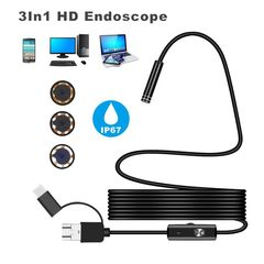 Android 5.5MM Micro USB Type-c USB 3-in-1  Waterproof Computer Endoscope black one size