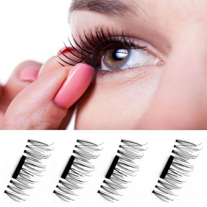 b32c6c9c840 4PCS/SET Lightweight Natural Thick Eye Lashes 3D Magnetic False Eyelashes  black