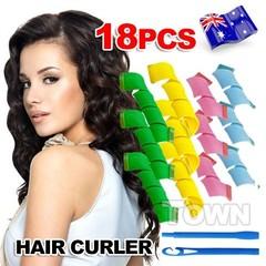 18pcs DIY Magic Circle Hair Styling Roller Curler Tool For Spiral Curls