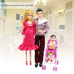 Little Girl + Boy + Pregnant Mother + Father + Trolley Family Group Suit Toy red one