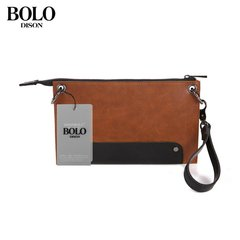 Trendy Men Bag Wallet Small Fashion Handbag PU Leather Hand Bag For Travel light brown one size