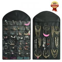 Earrings Necklace Bracelet Ring Jewelry Organizer for Tape Hook Storage Bag Closet Storage black 40 pockets