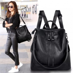 Fashion Women Backpack High Quality Leather Backpacks for Teenage Girls Female School Shoulder Bag Black R.D.S