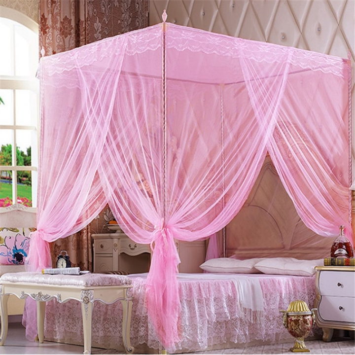 Flash sale Quadrate Mosquito Net Palace Net Lace Bed Netting with Three-Door Bed Net pink 6*6