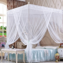 Quadrate Mosquito Net Palace Net Lace Bed Netting with Three-Door Bed Net white 6*6