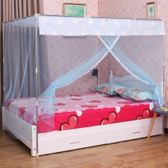 Post Bed Net Canopy Dust-proof Mosquito Net Twin Queen Cal King Size No Frame/Post blue 4*6--1.2m