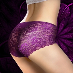 3 Pair Women's Briefs Comfortable Cotton Lace Underwear Women Sexy Ultra-thin Panties dark purple+black+blue xl (hipline 100-110cm)