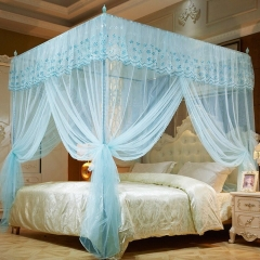 Lace Mosquito Net Encryption European Style Crown Bed Net for Africa Malaria Control water blue 4*6--1.2m