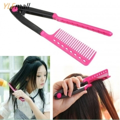DIY Salon Hairdress Styling Hair Straightener V Comb Flat Irons Straightening pink one size