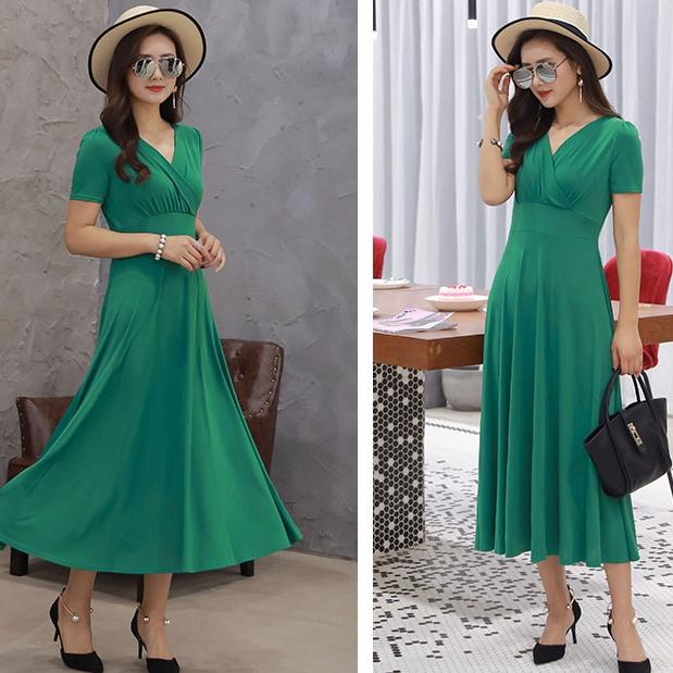 25d62e3cfe4 Women s V-neck short-sleeved high waist dress banquet holiday business  casual dress xl