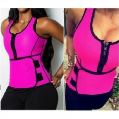Women's Fashion Sweat Neoprene Sauna Waist Trainer Vest Hot Shaper Sport Vest Slimming Adjustable red S