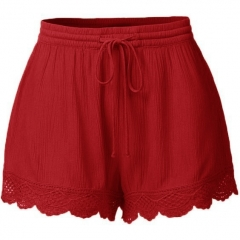 Sexy Women Fashion Loose Shorts Lace Up Elastic Waist Summer Beach Short Pants Shorts red S