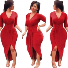 M&J New Fashion Women Sexy V Neck Half Sleeve Bodycon Dresses m red