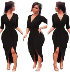 M&J New Fashion Women Sexy V Neck Half Sleeve Bodycon Dresses s black