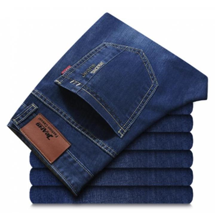M&J Men's Jeans Classic Direct Stretch Dark Blue Business Casual Denim Pants Slim Long Trousers dark blue 28