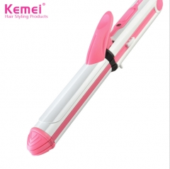 3 In 1 Hair Straightener Hair Curling Iron Multifunction corrugated Flat Iron Corn  Heated Roller pink normal