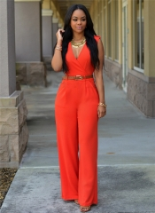 M&J  High-Waisted V-Neck Casual Jumpsuits Office Lady Wide Leg Pants Women Rompers orange s
