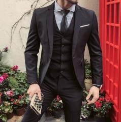 New Arrival Men Business Suit Slim Fit Classic  Suits Good Quality Wedding Suits For Men 3 Pieces black 48