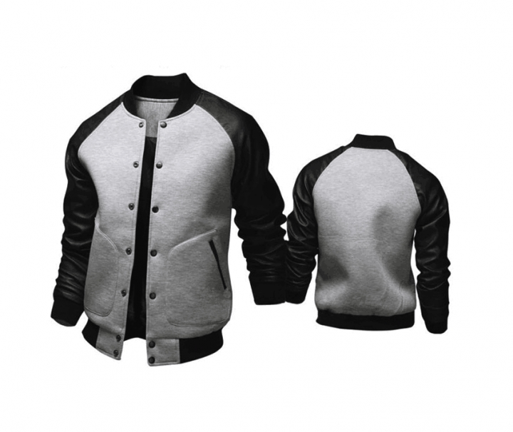 Cool College Baseball Jacket Men Fashion Design Black Pu Leather Sleeve Mens Slim Fit Varsity Jacket light gray l