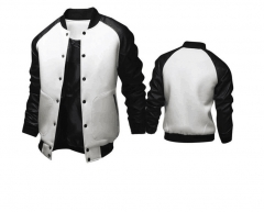 Cool College Baseball Jacket Men Fashion Design Black Pu Leather Sleeve Mens Slim Fit Varsity Jacket white m