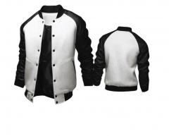 Cool College Baseball Jacket Men Fashion Design Black Pu Leather Sleeve Mens Slim Fit Varsity Jacket white m