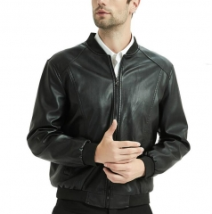 M&J Male Genuine Leather Jacket  Slim Motorcycle  Jacket Men Outerwear Fashion black 165/50