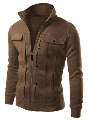 M&J Jacket Men Causal Jackets Mens Stand Collar Fashion Bomber Jacket For Men Coat Male brown m