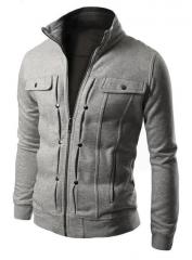 M&J Jacket Men Causal Jackets Mens Stand Collar Fashion Bomber Jacket For Men Coat Male light gray l