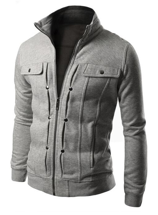 M&J Jacket Men Causal Jackets Mens Stand Collar Fashion Bomber Jacket For Men Coat Male light gray l