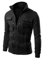 M&J Jacket Men Causal Jackets Mens Stand Collar Fashion Bomber Jacket For Men Coat Male black m