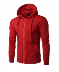 M&J Hooded Men Clothing Sportswear Men Fashion Thin Windbreaker Jacket Zipper Coats Outwear red M