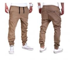 M&J Male New Fashion 2018 Slim Solid color Men Casual Pants Man Trousers Designer Mens Joggers khaki m