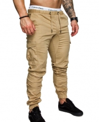 M&J Men Pants Hip Hop Harem Joggers Pants  Male Trousers Joggers Solid Multi-pocket Pants Sweatpants khaki XXL