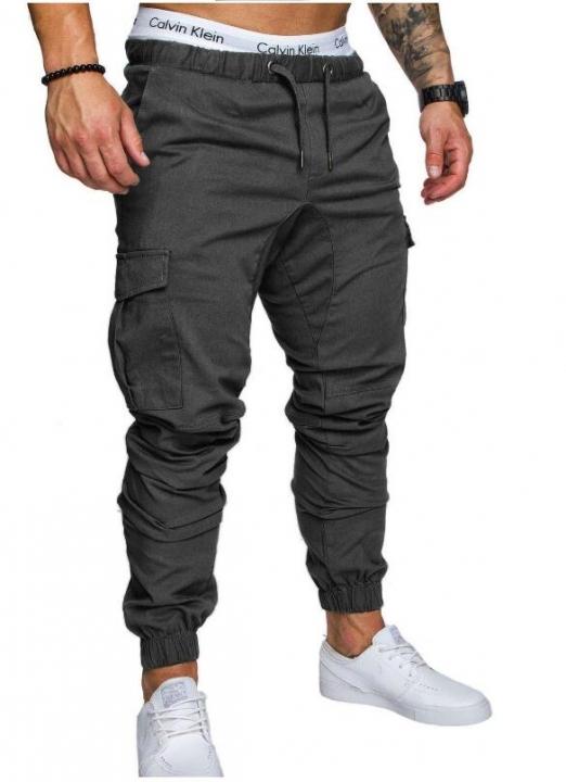 M&J Men Pants Hip Hop Harem Joggers Pants  Male Trousers Joggers Solid Multi-pocket Pants Sweatpants gray L