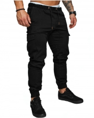 M&J Men Pants Hip Hop Harem Joggers Pants  Male Trousers Joggers Solid Multi-pocket Pants Sweatpants black M