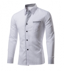 M&J New Fashion  Masculina Long Sleeve Shirt Men Korean Slim Design Formal Casual Male Dress Shirt white m