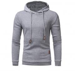 M&J  Long Sleeve Solid Color Hooded Sweatshirt Mens Hoodie Tracksuit Sweat Coat Casual Sportswear Light Gray M