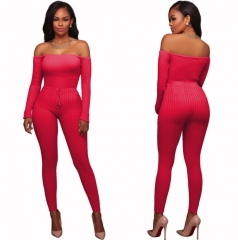 M&J Sexy Off Shoulder Jumpsuits Women Long Sleeve Casual Rompers Jumpsuit Female Elastic Waist rose-carmine s