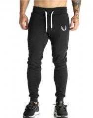 Cotton Men sportswear Pants Casual Elastic  Fitness Workout Pants skinny Sweatpants Trousers Jogger Black M