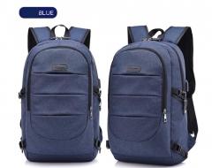 Laptop Backpack Men's Waterproof USB Charge Headphones Travel Backpack Lock Anti-theft School Bag blue 15.6inch
