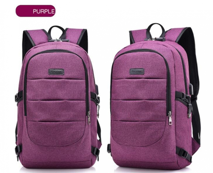 Laptop Backpack Men's Waterproof USB Charge Headphones Travel Backpack Lock Anti-theft School Bag purple 15.6inch