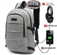 Laptop Backpack Men's Waterproof USB Charge Headphones Travel Backpack Lock Anti-theft School Bag gray 15.6inch