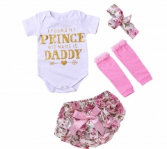 4PCS Newborn Baby Girls Clothes Letter Printing Romper+Pink Warm Legging+Floral Shorts+Headband Set as picture 70