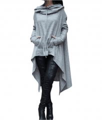 Hot Dropship Warm Women Long Sleeve O-Neck Hooded Cotton Hoodie  Sweatshirt Pullover Tops Casual Light Grey s