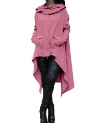 Hot Dropship Warm Women Long Sleeve O-Neck Hooded Cotton Hoodie  Sweatshirt Pullover Tops Casual Pink 4xl