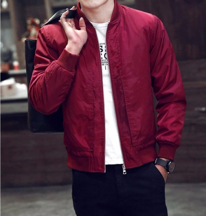 New Arrival Spring Autumn Men's Jackets Solid Fashion Coats Male Casual Slim Stand Collar Jacket Red 3XL