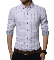 High Quality Fashion Brand Men Clothes Slim Fit Men Long Sleeve Shirt  Plaid Cotton Casual Men Shirt White m